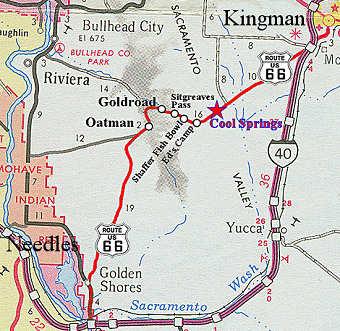 Map Of Arizona Kingman.Cool Springs On Route 66